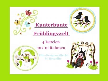 kunterbunte Frühlingswelt Eule Vogel Schmetterling  Käfer