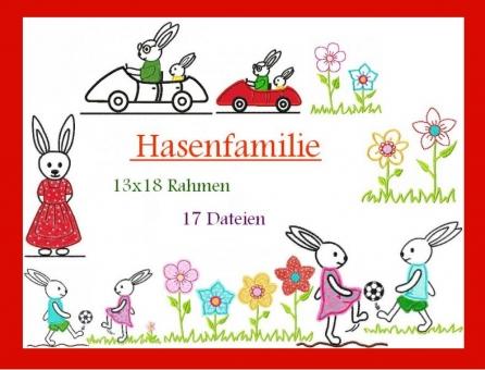 Hasenfamily Hasen-Junge-Mädchen Blumen groß