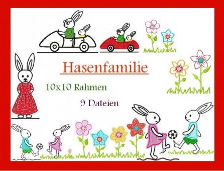 Hasenfamily Hasen-Junge-Mädchen Blumen klein