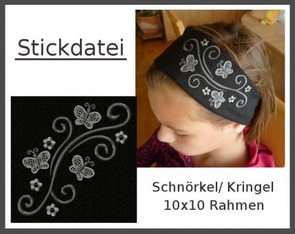 Schnörkel-Kringel-Ornament Blumen Schmetterling