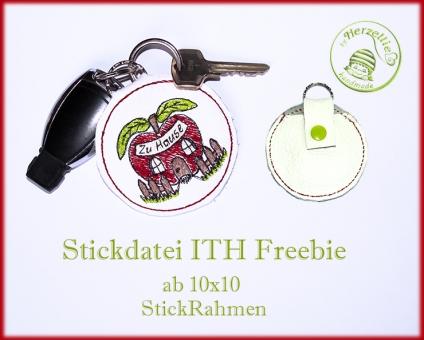 Stickdatei ITH Apfel-Tasche- Schlüsselanhänger
