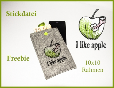 Stickdatei Apfel Raupe im malerischen zeichnerischen leichten Stil
