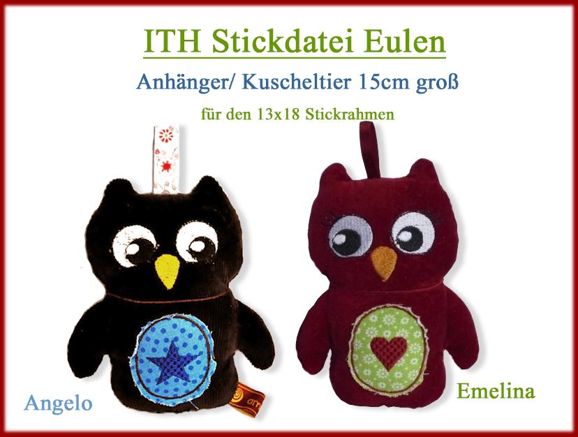 Stickdateien.By-Herzellie kaufen | Eule Emelina und Angelo ...